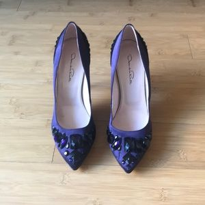 NWT Oscar de la Renta Purple Satin Pump sz 39